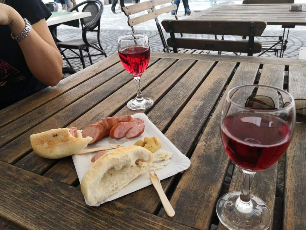 wine and sausage