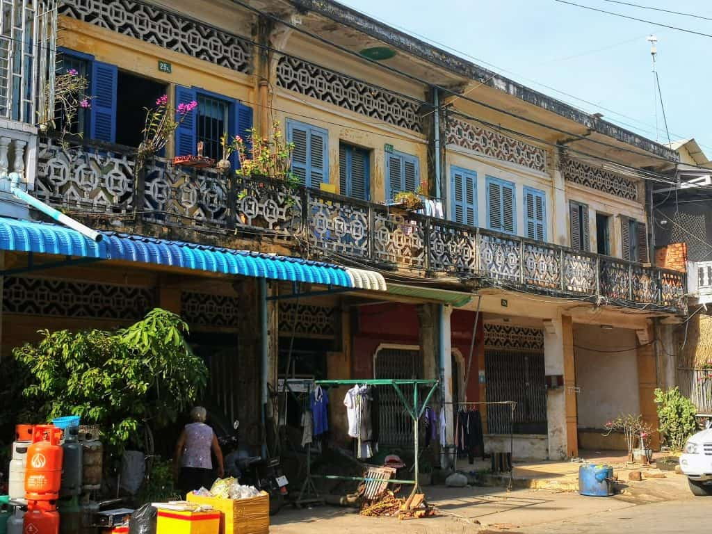 kampot french buildings